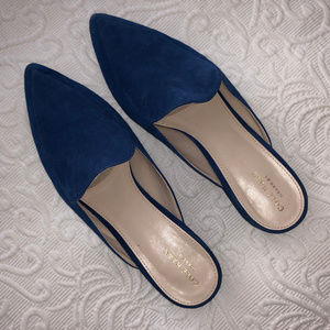 "LIKE NEW COLE HAAN ""Piper"" Blue Suede Mules 9.5"
